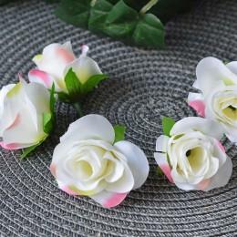 Головка розы Клео бело-розовая 4 см 1 шт.
