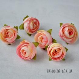 Головка ранункулюса Амели розово-персиковая 3,5 см
