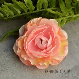 Головка камелии Хлоя розово-персиковая 9 см