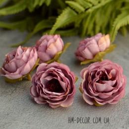 Головка розы Александра пепельно-сиреневая 4 см 1 шт.