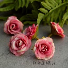 Головка розы Николь кремово-малиновая 4 см 1 шт.