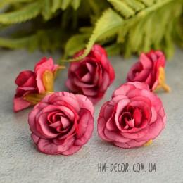 Головка розы Николь малиновая 4 см 1 шт.
