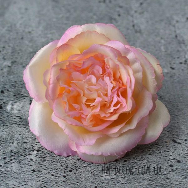 Головка розы Мери кремово-розовая 12 см