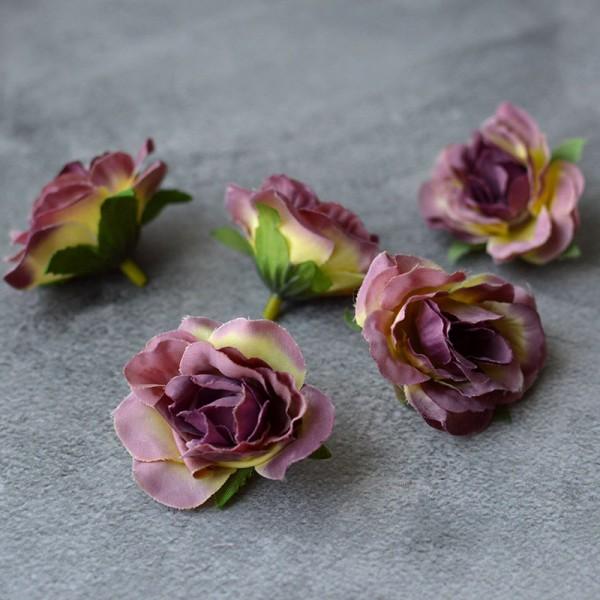 Головка розы Вивьен ванильно-сиреневая 4,5 см 1 шт.