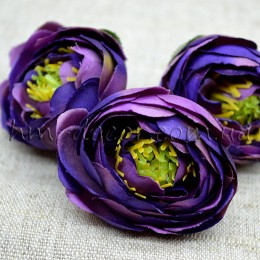 Головка ранункулюса премиум фиолетовая 4 см