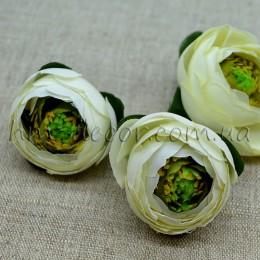 Головка ранункулюса премиум бело-зеленая 4 см