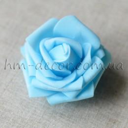 Головка розы фоамиран голубая 7 см