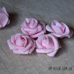 Головка розы фоамиран нежно-розовая 4 см