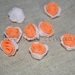 Головка розы фоамиран бело-абрикосовая 2,5 см