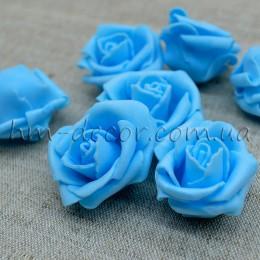 Головка розы фоамиран голубая 4 см
