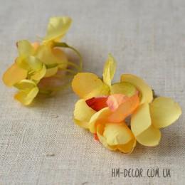 Цветочная веточка Акварель желтая 8 см