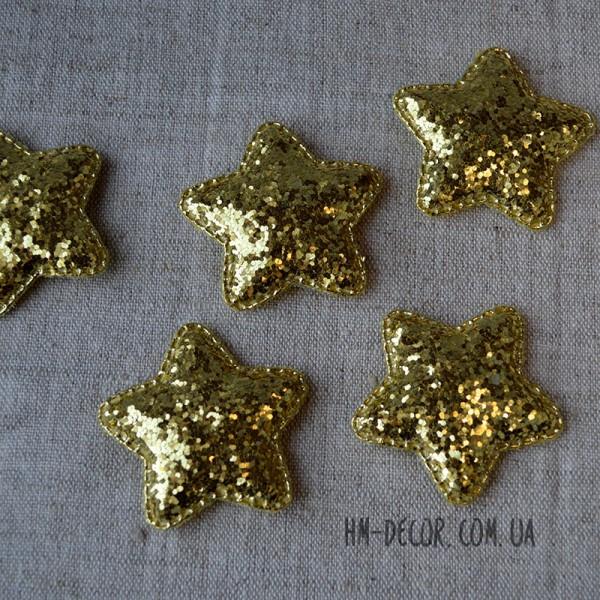 Аппликация Звезда большая глиттер золото 4,8 см