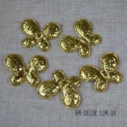 Аппликация Бабочка глиттер золото 4,8*3,7 см 1 шт.