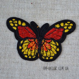 Термоаппликация Бабочка красный-желтый 5*7,5 см
