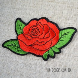 Термоаппликация Роза красная большая 8*11,5 см