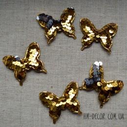 Аппликация Бабочка пайетка золото-серебро 4*5 см