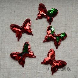 Аппликация Бабочка пайетка красный-зеленый 4*5 см