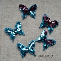 Аппликация Бабочка пайетка голубой-розовая пудра 4*5 см