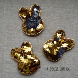 Аппликация Зайчик пайетка золото-серебро 4,5*5,5 см