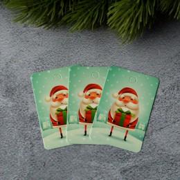 Бирка новогодняя Санта с подарком 4*6 см 1 шт.