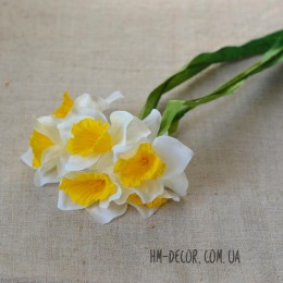 Нарцисс искусственный белый 6 гол. 30 см