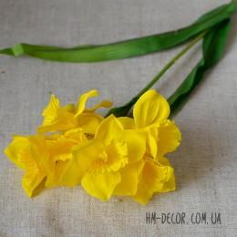 Нарцисс искусственный желтый 6 гол. 30 см