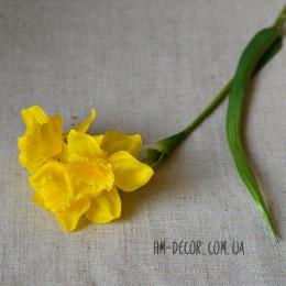 Нарцисс искусственный желтый 3 гол. 30 см
