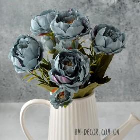 Букет пионов Милан голубой винтаж 30 см