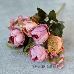 Букет пионовидных роз персиково-вишневый 5 гол. 30 см