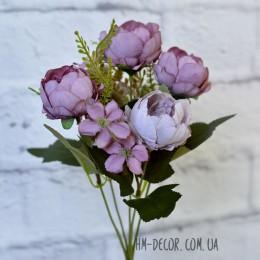 Букет пионовидных роз лилово-сиреневый 5 гол. 30 см