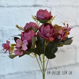 Букет пионовидных роз марсала 5 гол. 30 см