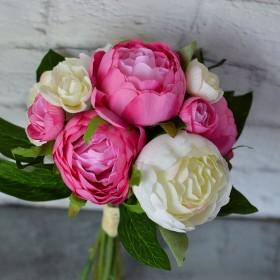 Букет-дублер с белыми и розовыми пионами 30 см