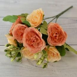 Букет роз Прованс персиково-оранжевый 30 см