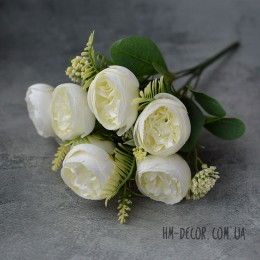 Букет пионовидных роз Эмма айвори 7 гол. 35 см