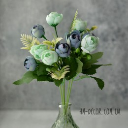 Букет ранункулюсов Паула мятно-синий 30 см