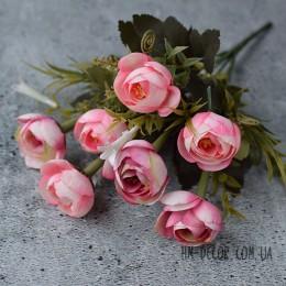 Букет ранункулюсов с колокольчиком розовый 30 см