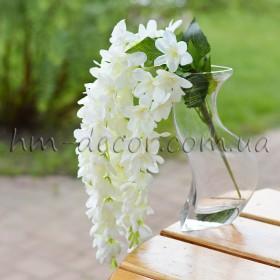 Глициния белая махровая 5 веток 40 см