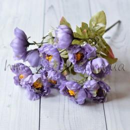 Букет садовых мини пионов светло-фиолетовый 35 см
