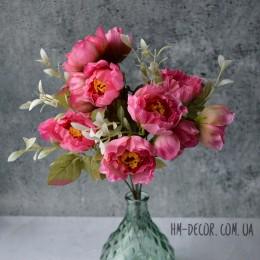 Букет садовых мини пионов розовый 35 см