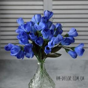 Крокусы синие пышные букет 7 веток 25 см