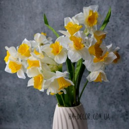 Нарцисс искусственный белый 3 гол. 30 см