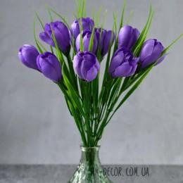Крокусы фиолетовые букет 25 см 11 шт.