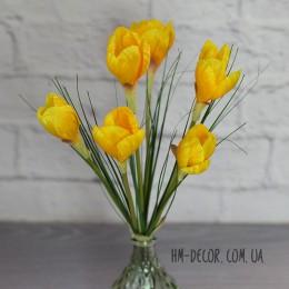 Крокусы желтые высокие букет 6 веток 35 см