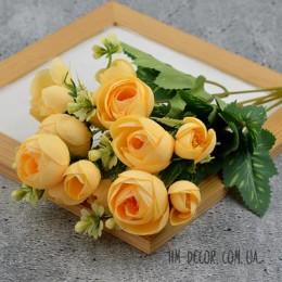 Букет ранункулюсов Мадлен желтый 30 см
