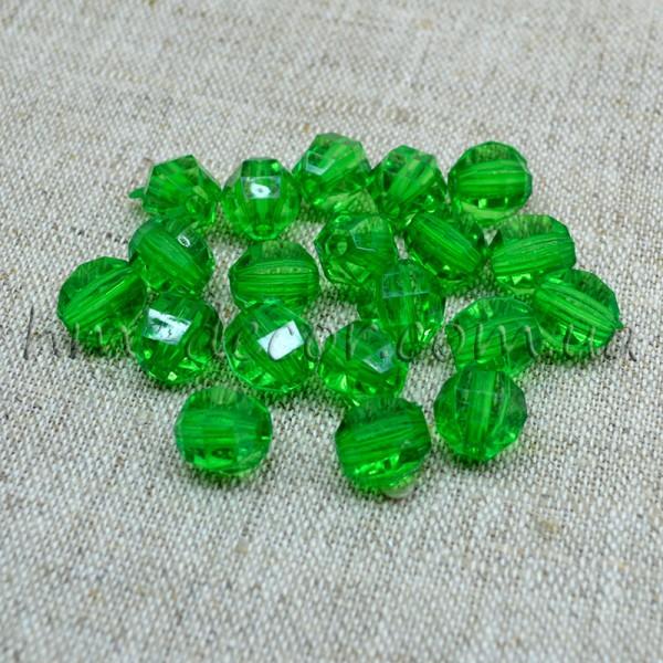 Бусины прозрачные зеленые 10 мм 20 шт.