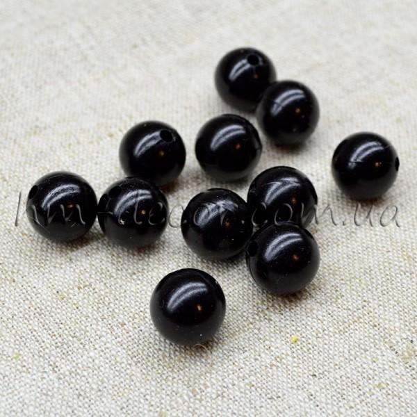 Бусины пластиковые черные 1 cм 20 шт.