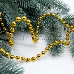 Бусы на нитке новогодние золото 6 мм 1 м