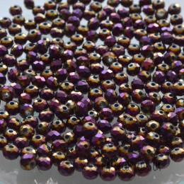 Бусины хрустальные лиловое напыление 3х4 мм 30 шт.