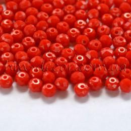 Бусины хрустальные красный непрозрачный глянец 3х4 мм 30 шт.