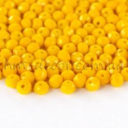 Бусины хрустальные желтый непрозрачный глянец 3х4 мм 30 шт.